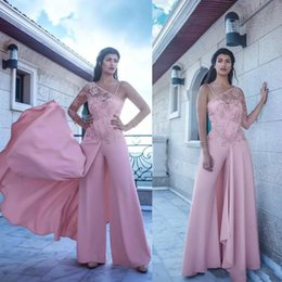 Barato Uma Manga Vestido De Baile Barato-2017 Gorgeous Sexy Evening Dresses Calças Jumpsuit Beads Lace One Shoulder Evening Gown New Arrival Manga comprida Prom Dress Party barato