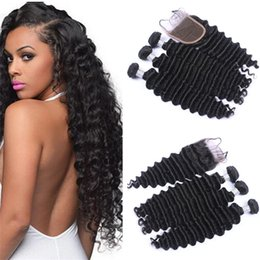 34 inches hair Australia - 4*4 Free Part Lace Cosure With Hair Bundles Deep Wave Virgin Peruvian Human Hair Weaves 3Pcs With Top Closure 4Pcs Lot
