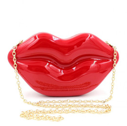 lips shoulder bags 2020 - Wholesale- Sexy Red Lips Clutch Bag Acrylic Women Evening Bags Small Purse Handbags Bride Bridesmaid Wedding Party Bag c