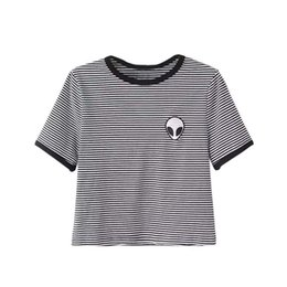 Chinese  Women Loose Print Short Sleeve Tee Shirt Casual Crop Top Alien Printing T Shirt 9 Colors manufacturers