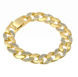 $enCountryForm.capitalKeyWord Canada - Hip Hop Half Simulated Diamond Gold Plated Bracelet Rhinestone Cuban link chains Bracelet Male Women Jewelry Accessory Wholesale Price