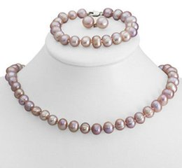 "Discount pink freshwater cultured pearl necklace FREE SHIPPING>>Genuine 8-9mm Freshwater Cultured Pearl Necklace Bracelet & Earrings Set 18"" 7.5"