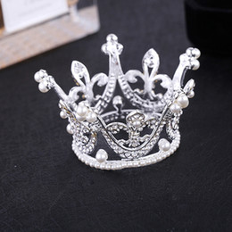 Wholesale Kids Flower Girl Baby Full Crystal Circle Round Mini Tiara Crown Pearl Crown Kid Bridal Princess Rhinestone Pearl Tiara