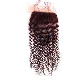 $enCountryForm.capitalKeyWord UK - Peruvian Human Hair Silk Base Closure Kinky Curly 4*4 inch Baby Hair Bleached Knots Unprocessed Virgin Hair Silk Lace Closure Natural Color