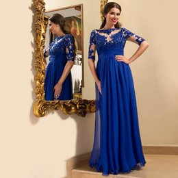 Barato Vestido Chiffon Metade-Vimans barco pescoço metade da luva Chiffon Royal Blue Evening Dresses Applique Lace Sexy vestido formal Long Prom Party Gowns
