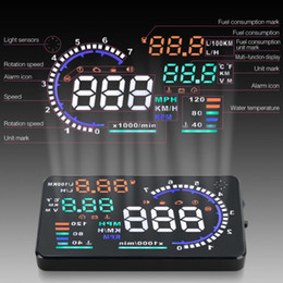 Car Heads Up Display Canada - A8 5.5inch OBD2 HUD head-up display car windshield projector driving data speedometer speeding Warning fuel consumption display