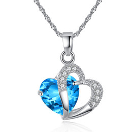 blue purple crystal necklace NZ - Fashion Blue red purple Crystal Water Drop Pendant Necklace Rhodium Plated Zircon Necklaces & Pendants For Women