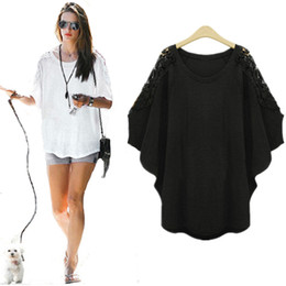 Fat laces wholesale online shopping - Plus size XL women fat MM summer thincotton loose bat sleeve shirt shoulder lace short sleeved women t shirt fit pounds