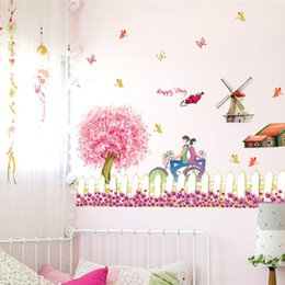 QT 0010 DIY Romantic Cherry Blossom Fence Play Crural Line Sitting Room  Waterproof Porch Decorate Bedroom Wall Stickers Mural