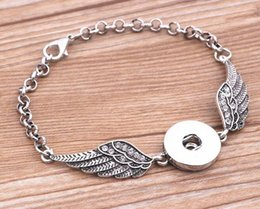 white angel wing chain bracelet NZ - 3Pcs Crystal Angel wings Bracelets Bangles Antique Silver DIY Ginger Snaps Button Jewelry 2017 New Style Bracelets