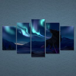 framed wolf wall decor Australia - 5 Pcs Set Framed HD Printed Wall Art Lights Night Wolf Painting Picture Print Home Decor Living Room Landscape Canvas Painting