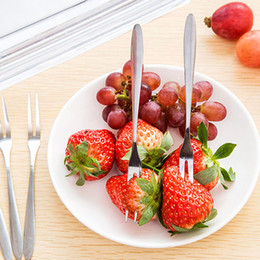 ExquisitE fruit online shopping - Fruit Fork Exquisite Stainless Steel Fashion Fruits Sign Double Tooth Forks Small Cake Snacks Dessert Salad Prong Kitchen Tool dr F R