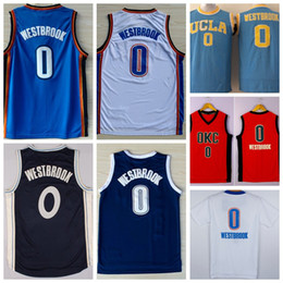 Noël Blanc Bon Marché Pas Cher-Cheap Mens 0 Russell Westbrook Jersey Shirt UCLA Bruins Russell Westbrook College Basketball Uniformes Throwback Bleu de Noël Bleu Blanc Orange