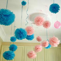 Venta al por mayor-10pcs Papel PomPom Tissue Ball Suministros decorativos Flor para la boda Home Party Room Banquete Decoración Pompon Craft Products en venta