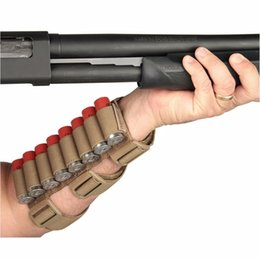 Round magazine online shopping - Tactical Hunting Rounds Ammo Shotgun Shell Holder Carrier Shooters Forearm Sleeve Mag Pouch