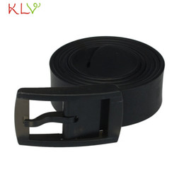 Plastic Belt Men Canada - Wholesale- KLV Coolbeenr Men Womens Unisex Smooth Silicone Rubber Leather Belt Plastic Buckle New Dec8