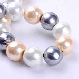 $enCountryForm.capitalKeyWord Canada - 1pack lot 21mm Fashion Round ball Natural Shell Pearl Loose Spacer Beads Mixed Multi Colours DIY for Jewelry & Craft necklace