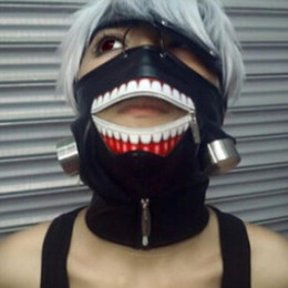 Mask Baratos-Tokio Ghoul Kaneki Ken Máscara Zipper máscaras ajustables PU Cuero Cool Máscara Blinder Anime Cosplay