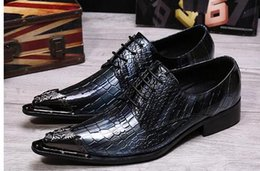Style Wedding Dresses For Men Canada - Italian Style Blue Patent Leather Lace-up Oxford Shoes for Men Business Shoes Wedding Shoes Flats Men's Dress Shoe Alligator