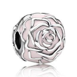 Authentic 925 Sterling Silver Bead Charm Pink Enamel Rose Garden Clip Lock  Stopper Bead Fit Women Pandora Bracelet Bangle DIY Jewelry HK3401