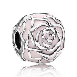 Authentic 925 Sterling Silver Bead Charm Pink Enamel Rose Garden Clip Lock  Stopper Bead Fit Women Pandora Bracelet Bangle DIY Jewelry HK3401