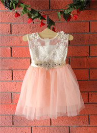 Baby Girl Lace Crochet NZ - 2017 Summer Kids Girls Crochet Lace tutu Dresses Baby Girl Bowknot Diamond Tutu Dress Baby Girl Party Dress children's clothing