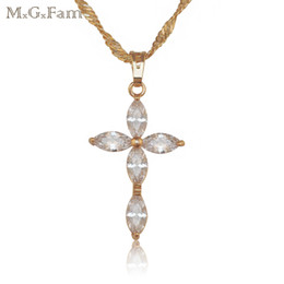 China (150P) MGFam Great Jesus Cross Pendant Jewelry 18k yellow Gold Filled Zircon Stone with Free 45cm Chain. suppliers