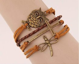 $enCountryForm.capitalKeyWord NZ - HOT Fashion retro owl cross Dragonfly combination of hand - woven Bracelet alloy accessories wholesale free shipping