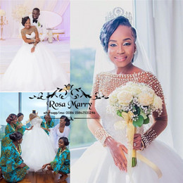 $enCountryForm.capitalKeyWord NZ - Luxury Pearls Crystals Nigeria Wedding Dresses 2020 Ball Gown Long Sleeves Sheer White Tulle Country Plus Size Arabic African Bridal Gowns