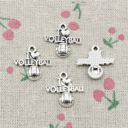 Volleyball Jewelry Wholesale Canada - 90pcs Charms i love volleyball 21*20mm Antique Silver Pendant Zinc Alloy Jewelry DIY Hand Made Bracelet Necklace Fitting