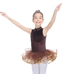 Barato Leotards Contornados-Brown Velvet High Neck Tank Leotard Tutu com 4 camadas Soft Tulle Girls Ballet Dance Dress Tutu Jujeira