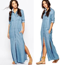 7bc814611c2 Floor length denim dress online shopping - 6 Pockets Denim Shirt Dresses  Plus Size Button Fly