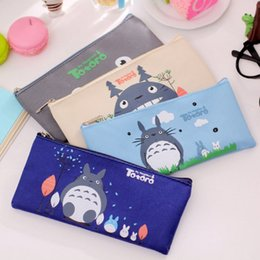 Discount stationery leather - Totoro Pencil Case Panda School Boys Kawaii Pen Box Bag Pouch Canvas Cartoon Cute Cases Bags Leather or Pens Stationery