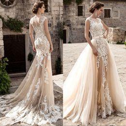 Detachable Wedding Dress Skirts Canada - 2017 Champagne Lace Beach Wedding Dresses Overskirt Detachable Train Applique Sheer Sheer Skirt Mermaid Wedding Dress Plus Size Bridal Gowns