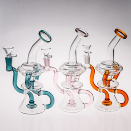 Circulation Oil Canada - Best Circulation Blue Glass Bongs Water Pipes 20cm Joint Size 14.4mm dab Recycler Oil Rigs Glass Bong With percolator hunter orange hookahs