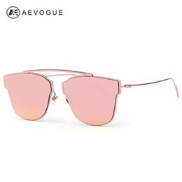 flat mirrors NZ - Wholesale- AEVOGUE Women's Sunglasses Metal Frame Reflective Coating Mirror Flat Panel Lens Brand Designer Sun Glasses Oculos De Sol AE0329