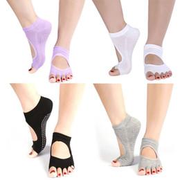 pilates socks grips 2019 - Wholesale- 1 Pair Half Toe Ankle Grip Dance Pilates Socks Five 5 Toes Non Slip Socks cheap pilates socks grips