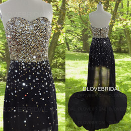 Barato Vestido Strapless Sweetheart Ouro-Luxo Gold Sequin Beaded High Low Prom Dress Foto Real Strapless Sweetheart Formal Especial Occassão Vestidos de festa Custom Made Gown