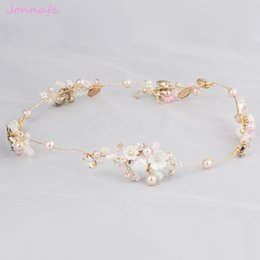 Barato Ornamento Da Flor Do Cabelo Nupcial-Jonnafe Gold Crystal Wedding Flower Hairpiece Bridal Headband Hair Vine Acessórios Pérolas Mulheres Cabelo Ornaments Jóias