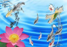 $enCountryForm.capitalKeyWord NZ - 5D Diamond Embroidery needlework diy Diamond painting Cross Stitch Kits lotus flower fish lake full round diamond mosaic Room Decor yx1137
