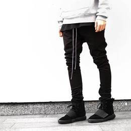 leg opening trousers 2019 - Wholesale- Streetwear Harem Pants Men Draw String Elastic Waist Hip Hop Pants Leg Opening Zipper Male Trousers kanye jus