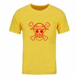 one piece yellow shirt Australia - Free shipping Summer New T Shirts Men One Piece Luffy Straw Hat Cotton Normal O Neck Tops Tee Anime Clothing Short Sleeve DIY-0158D