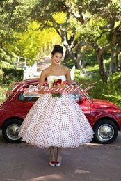 Barato Comprimento Do Chá-2017 Summer Vintage Polka Dotted Wedding Dresses Praia Boho Strapless Chá Comprimento Vestidos de noiva robe de marriageWedding Gowns Custom Made