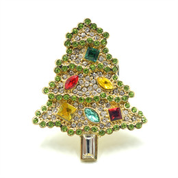 old brooches Canada - Vintage CHRISTMAS TREE Rhinestone Pin Brooch ,Gold Winter Holiday Old Jewelry Gift