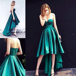Barato Barato Verde Vestidos Para Festa-Hunter Green High Low Prom Dresses Cheap Sweetheart A Line Cetim Placas Lace Up Back Cocktail Party Dress Cheap Bridesmaid Dress