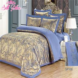"california king beds 2019 - Wholesale- ""Silk Place"" Fashion Quality Bedding Set Queen Size Jacquard Duvet Cover Bedsheet Pillowcase 4- 7pc"