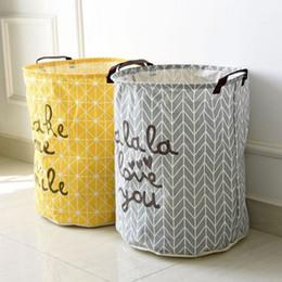 Fold Laundry Basket Canada - 40*50cm Folding Laundry Basket Yellow Arrow Couple Storage Barrel Large Laundry Storage Basket Toy Clothes Storage Basket V3382
