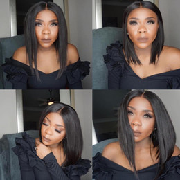 $enCountryForm.capitalKeyWord Australia - Stock fast shipping Short Wigs for Black Women Bob Synthetic Hair Front Lace Wig middle part silk straight Natural Black Wigs