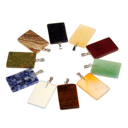 Eye Shaped Pendants Australia - New Generous Rectangle Shape Multi-color Natural Tiger's Eye Red Jasper Stripe Blue Sand Stone Sodalite Charms Pendant for Necklace Jewelry
