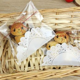 $enCountryForm.capitalKeyWord Australia - Wholesale-100Pcs Lovely lace bow Print Gifts Bags Christmas Cookie packaging self-adhesive plastic bags for biscuits Candy Cake package